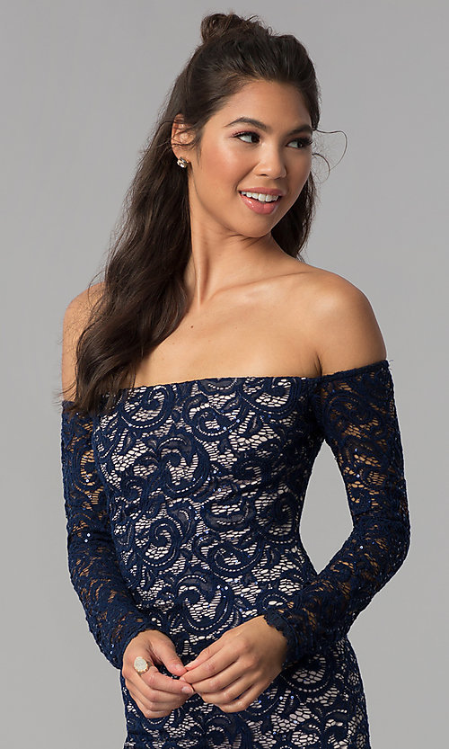Image of long-sleeve off-the-shoulder short homecoming dress. Style: MY-4647XX1C Detail Image 1