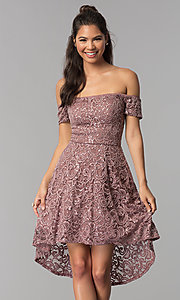 Image of taupe high-low off-shoulder lace homecoming dress. Style: MY-5237IW1P Front Image