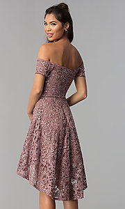 Image of taupe high-low off-shoulder lace homecoming dress. Style: MY-5237IW1P Back Image