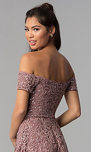 Image of taupe high-low off-shoulder lace homecoming dress. Style: MY-5237IW1P Detail Image 2
