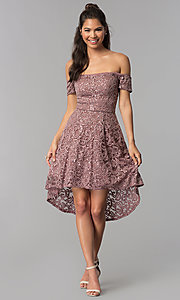 Image of taupe high-low off-shoulder lace homecoming dress. Style: MY-5237IW1P Detail Image 3