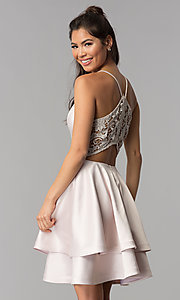 Image of buff pink short tiered v-neck lace-back party dress. Style: MY-7071YB1P Front Image