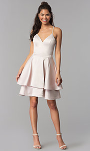 Image of buff pink short tiered v-neck lace-back party dress. Style: MY-7071YB1P Detail Image 3