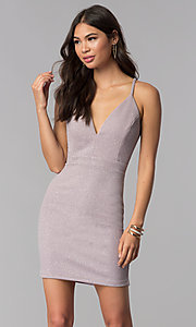 Image of glitter-knit short v-neck homecoming party dress. Style: EM-FRI-3646-530 Front Image