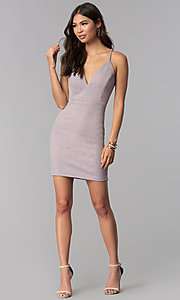 Image of glitter-knit short v-neck homecoming party dress. Style: EM-FRI-3646-530 Detail Image 3