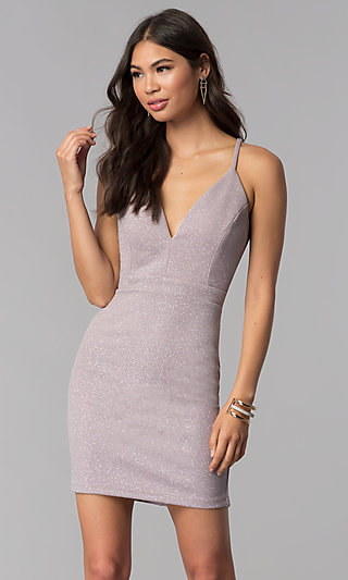 Glitter-Knit Short V-Neck Homecoming Party Dress