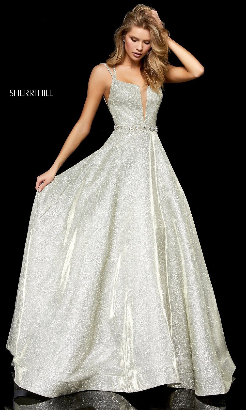30c074f0418 Long Glitter A-Line Prom Dress by Sherri Hill
