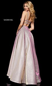 Image of long straight-neck glitter Sherri Hill prom dress. Style: SH-52138 Back Image