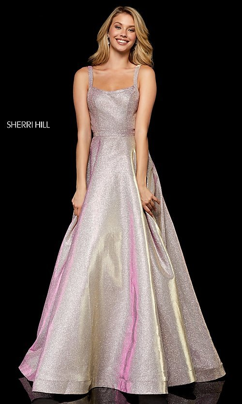 Image of long straight-neck glitter Sherri Hill prom dress. Style: SH-52138 Front Image