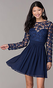 Image navy lace-bodice long-sleeve hoco dress by PromGirl. Style: LP-PL-25720 Front Image