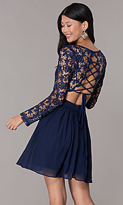 Image navy lace-bodice long-sleeve hoco dress by PromGirl. Style: LP-PL-25720 Back Image