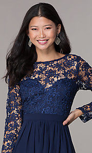 Image navy lace-bodice long-sleeve hoco dress by PromGirl. Style: LP-PL-25720 Detail Image 1