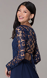 Image navy lace-bodice long-sleeve hoco dress by PromGirl. Style: LP-PL-25720 Detail Image 2