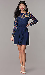 Image navy lace-bodice long-sleeve hoco dress by PromGirl. Style: LP-PL-25720 Detail Image 3