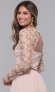 Image of two-piece short hoco dress in blush by PromGirl. Style: LP-PL-90221 Detail Image 2