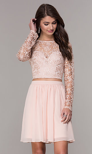 Two-Piece Short Hoco Dress in Blush by PromGirl