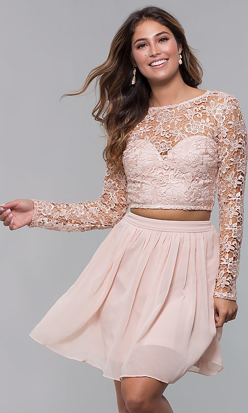 Image of two-piece short hoco dress in blush by PromGirl. Style: LP-PL-90221 Front Image