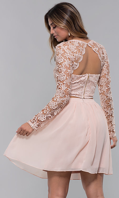 Image of two-piece short hoco dress in blush by PromGirl. Style: LP-PL-90221 Back Image