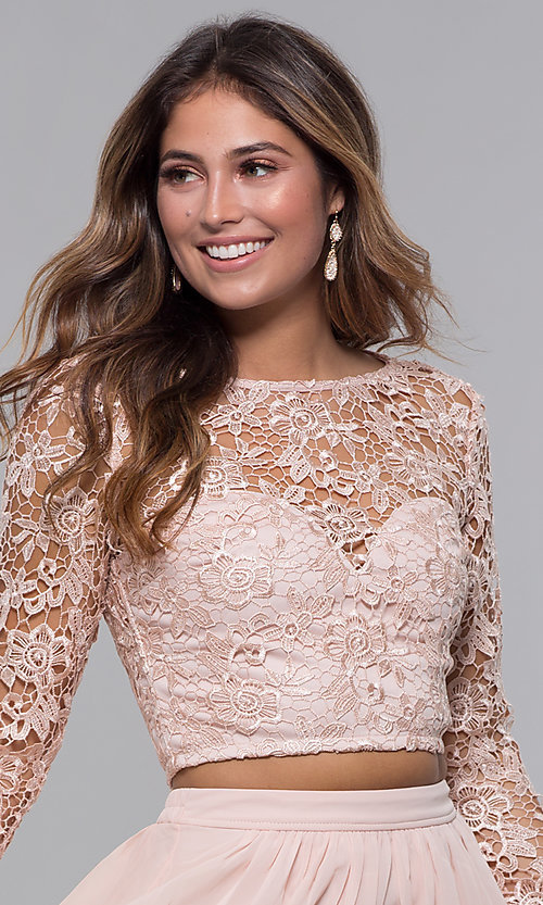 Image of two-piece short hoco dress in blush by PromGirl. Style: LP-PL-90221 Detail Image 1