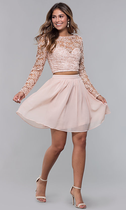 Image of two-piece short hoco dress in blush by PromGirl. Style: LP-PL-90221 Detail Image 3