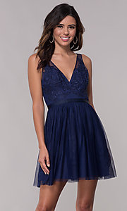 Image of embroidered-applique short hoco dress by PromGirl. Style: LP-PL-27403 Front Image