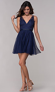 Image of embroidered-applique short hoco dress by PromGirl. Style: LP-PL-27403 Detail Image 3