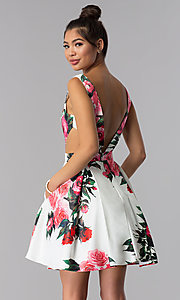 Image of floral-print v-neck JVN by Jovani homecoming dress. Style: JO-JVN-JVN65166 Back Image