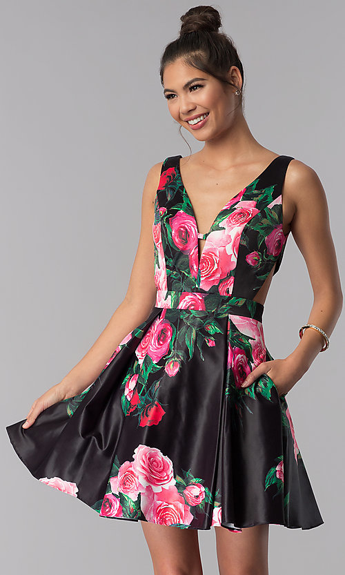 Image of floral-print v-neck JVN by Jovani homecoming dress. Style: JO-JVN-JVN65166 Detail Image 1