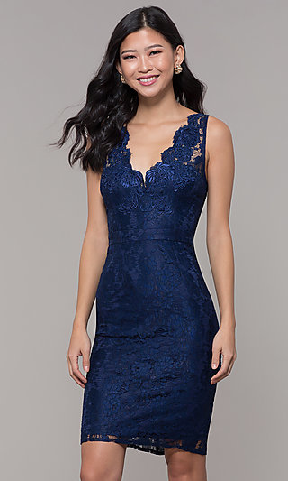 Navy Blue Short Lace V-Neck Sheath Party Dress