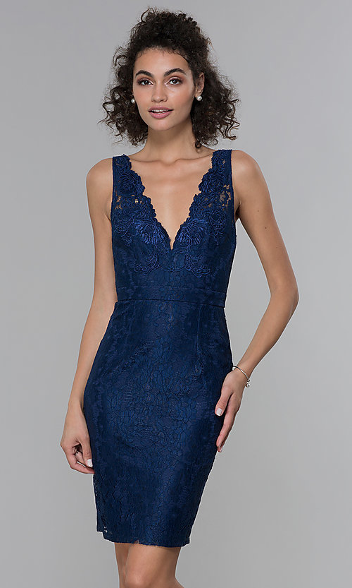 Image of navy blue short lace v-neck sheath party dress. Style: LP-25707 Front Image
