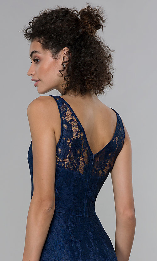 Image of navy blue short lace v-neck sheath party dress. Style: LP-25707 Detail Image 2