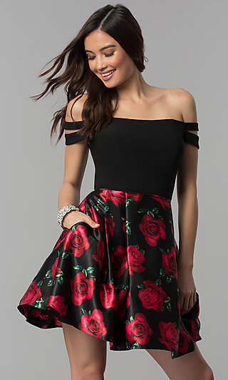 Off-Shoulder Floral-Print Black Homecoming Dress