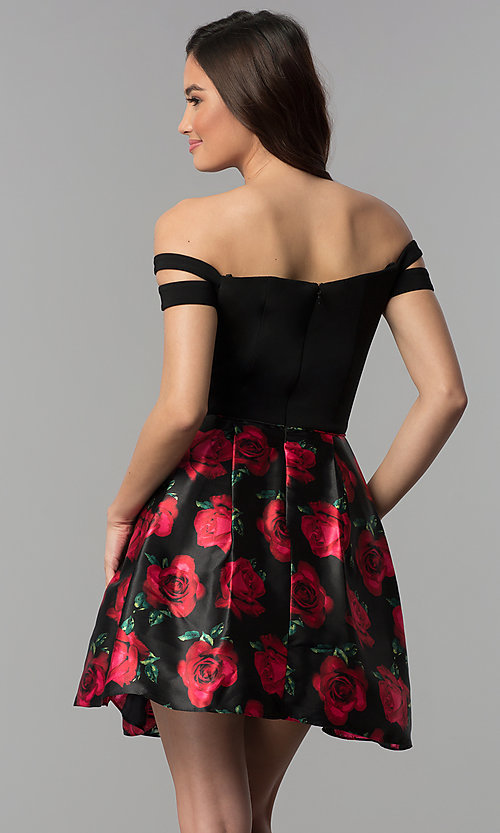 Image of off-shoulder floral-print black homecoming dress. Style: BN-493BN Back Image