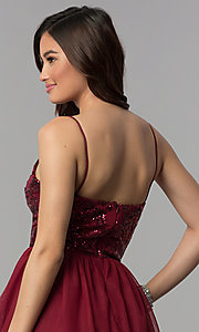 Image of short sequin-bodice wine red homecoming dress. Style: BN-576BN Detail Image 2