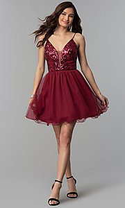 Image of short sequin-bodice wine red homecoming dress. Style: BN-576BN Detail Image 3