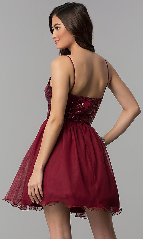 Image of short sequin-bodice wine red homecoming dress. Style: BN-576BN Back Image