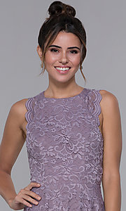 Image of short lilac purple lace racerback party dress. Style: CT-3616PX1AT1 Detail Image 1
