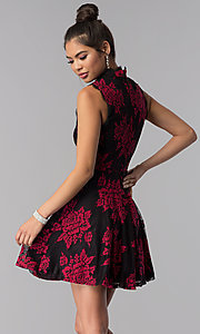 Image of short floral-lace-appliqued party dress. Style: CT-3551PV9LT1 Back Image