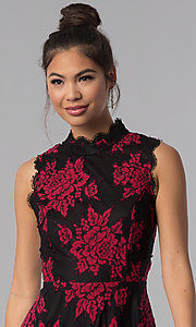 Image of short floral-lace-appliqued party dress. Style: CT-3551PV9LT1 Detail Image 1