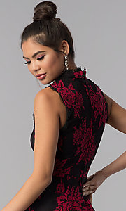 Image of short floral-lace-appliqued party dress. Style: CT-3551PV9LT1 Detail Image 2