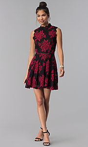 Image of short floral-lace-appliqued party dress. Style: CT-3551PV9LT1 Detail Image 3