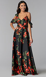 Image of red-floral-print long chiffon wedding guest dress. Style: MB-7211 Front Image