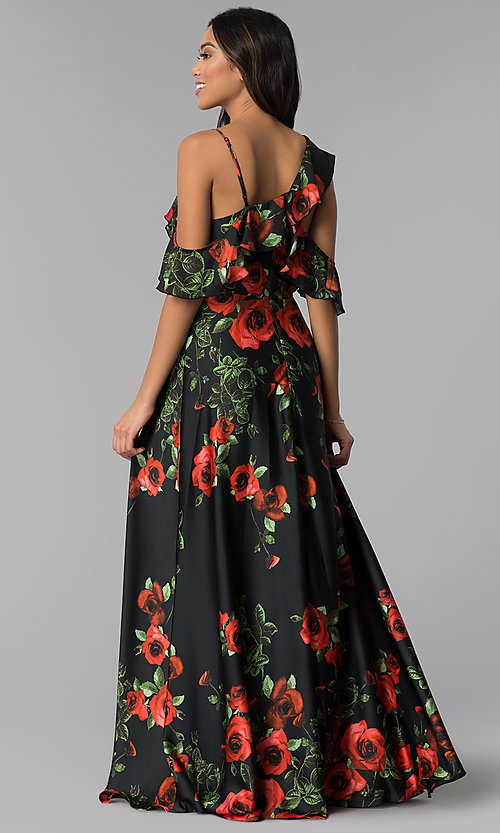 Image of red-floral-print long chiffon wedding guest dress. Style: MB-7211 Back Image