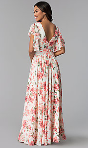 Image of ivory and pink chiffon floral-print formal dress. Style: MB-7274 Back Image