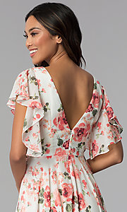 Image of ivory and pink chiffon floral-print formal dress. Style: MB-7274 Detail Image 2