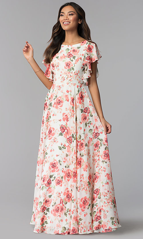 Image of ivory and pink chiffon floral-print formal dress. Style: MB-7274 Front Image