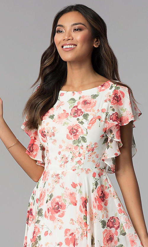 Image of ivory and pink chiffon floral-print formal dress. Style: MB-7274 Detail Image 1