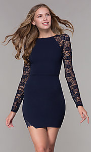 Image of short navy blue party dress with long lace sleeves. Style: EM-FQY-3405-430 Front Image