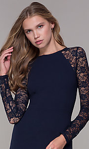 Image of short navy blue party dress with long lace sleeves. Style: EM-FQY-3405-430 Detail Image 1