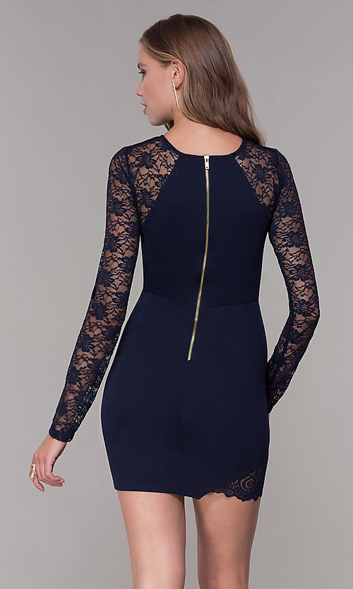 Image of short navy blue party dress with long lace sleeves. Style: EM-FQY-3405-430 Back Image